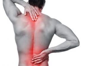 Patient mit Rückenschmerzen, Schonhaltung