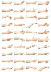 Abbildung verschiedener Bewegungen mit der Hand